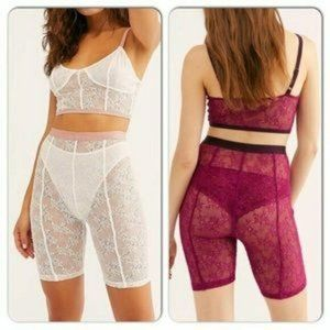 Free People Lucy Lace bike shorts size XS maroon